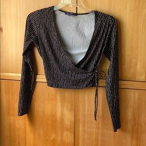 One clothing long sleeve wrap top